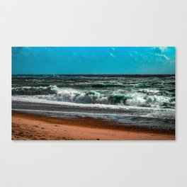 The wild and rough sea on a beautiful day Canvas Print