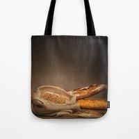bread Tote Bags featuring Bread. by Alexey & Julia