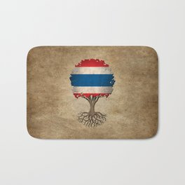 Vintage Tree of Life with Flag of Thailand Bath Mat