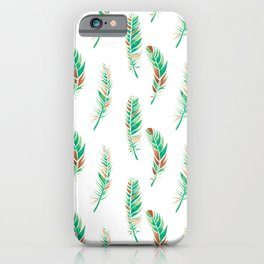 Watercolour Feathers - Greenery and Copper iPhone Case