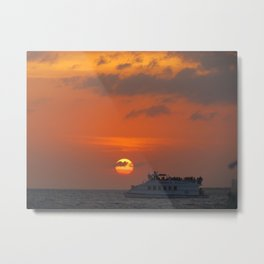 Sunsetting in key west and boat  Metal Print