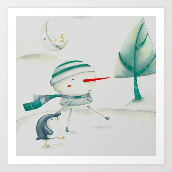 Snowman and friend Art Print