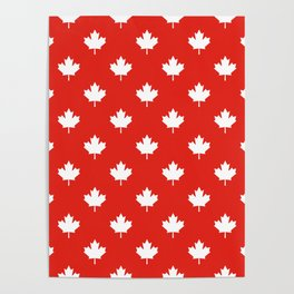 Large Reversed White Canadian Maple Leaf on Red Poster