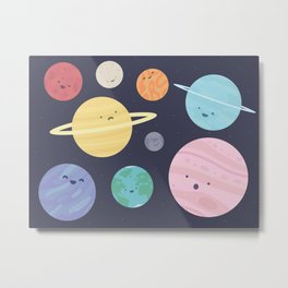 Cute Planet Pattern Metal Print