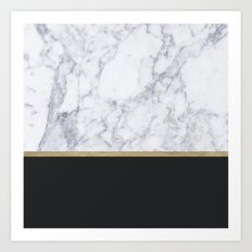 MARBLE GOLD BLACK  Art Print
