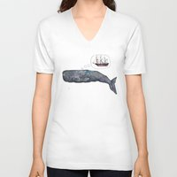 moby dick V-neck T-shirts featuring Moby Dick by Janie Stapleton