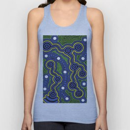 Authentic Aboriginal Art - Meeting Places Unisex Tank Top