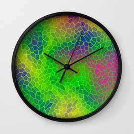Volumetric texture of pieces of green glass with a Iridescent mysterious mosaic. Wall Clock