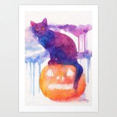 Halloween cat Art Print