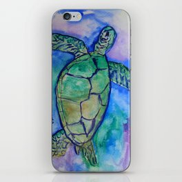 Sea Turtle Watercolor Painting iPhone Skin