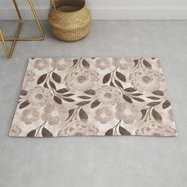 Floral pattern in beige and brown tones. Rug