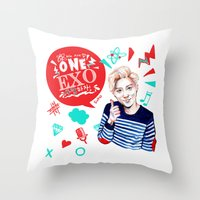 exo Throw Pillows featuring EXO WE ARE ONE! Suho Version by Haneul Home
