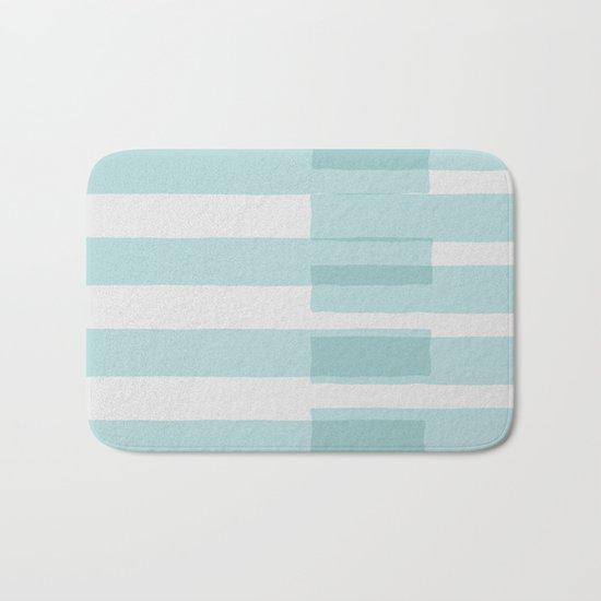 Big Stripes In Turquoise Bath Mat