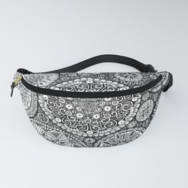 The Yin, Black Mandalas by Kent Chua Fanny Pack