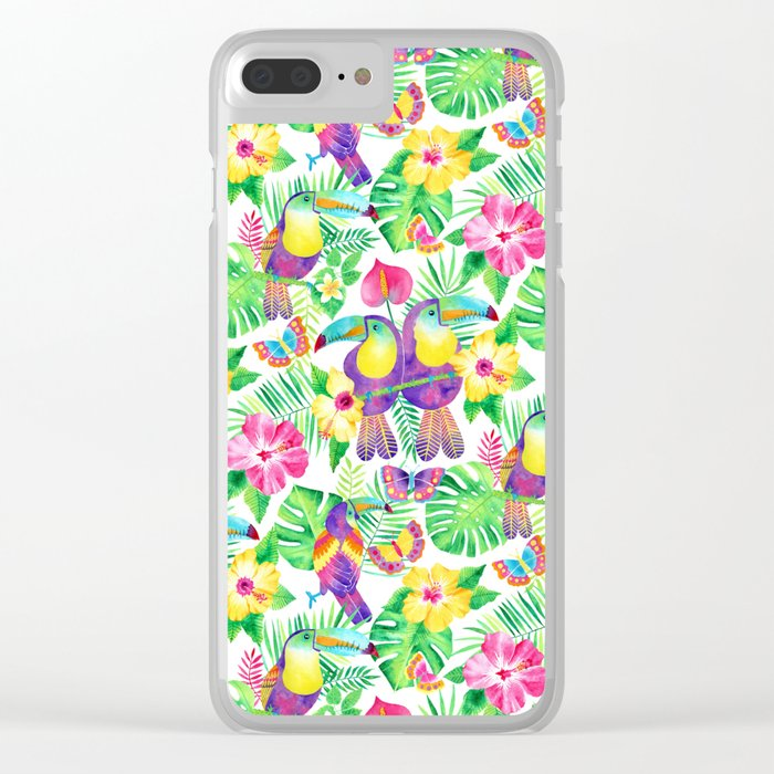 Tropical Toucans in Watercolor White Clear iPhone Case