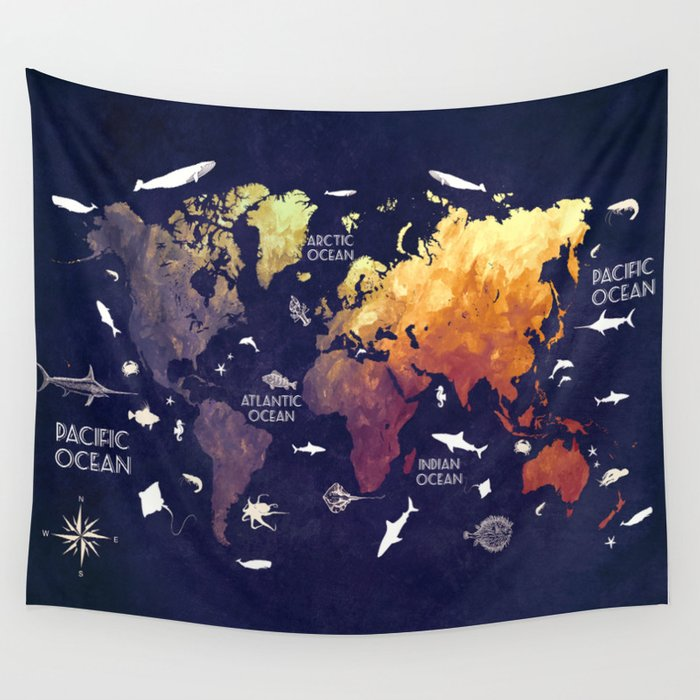 world map 11 Wall Tapestry