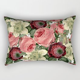 Vintage & Shabby Chic - Pink and Red Roses Retro Flower Garden Pattern Rectangular Pillow