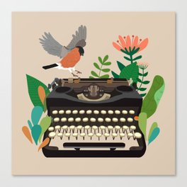 The bird and the typewriter Canvas Print