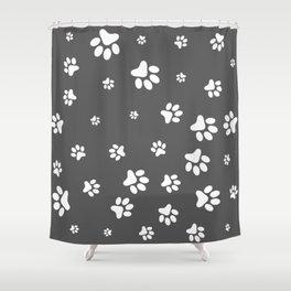 White Pet paw pattern on Dark Grey background Shower Curtain