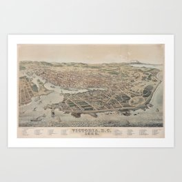 Vintage Pictorial Map of Victoria BC (1889) Art Print