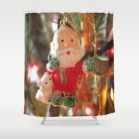 santa Shower Curtains featuring Santa by lillianhibiscus