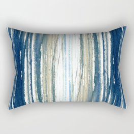 Indigo Blue and Beige Watercolor Stripes Rectangular Pillow