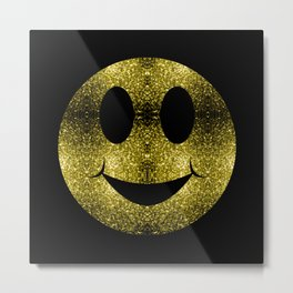 Sparkly Smiley Yellow Gold sparkles Metal Print