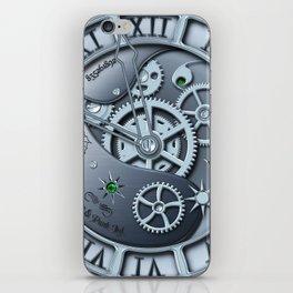 Steampunk clock silver iPhone Skin
