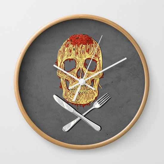 Spaghetti Skull Wall Clock