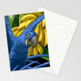 Hyacinth Macaws and bananas Stravaganza (black background). Stationery Cards