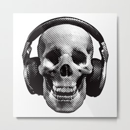 Hipster Skull Listening to Music on Headphones Metal Print