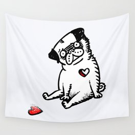 Faded Heart Pug Wall Tapestry