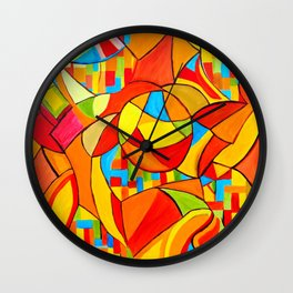 Orange Mayhem Wall Clock