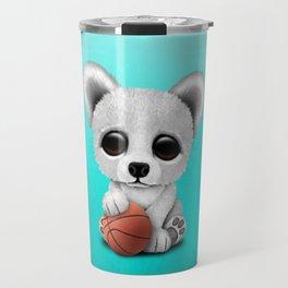 Cute Baby Polar Bear Playing With Basketball Travel Mug