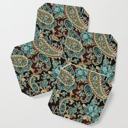 Brown Turquoise Paisley Coaster