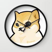 doge Wall Clocks featuring PLAIN DOGE by ocamixn