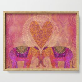 Elephants In Love With Heart Serving Tray
