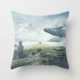 A Boy and His Whale Throw Pillow