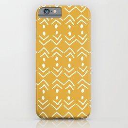 Tribal, Mudcloth, Yellow, Boho Wall Art iPhone Case