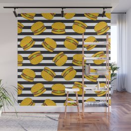 Burger Stripes By Everett Co Wall Mural