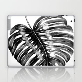 Monstera leaf black watercolor illustration Laptop & iPad Skin