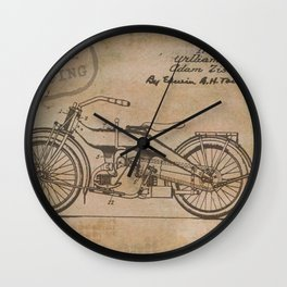 Original Motorcycle Drawing Sketch with Signatures Wall Clock