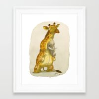 bouletcorp Framed Art Prints featuring Elephant in a giraffe costume by Bouletcorp