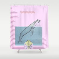 the whale Shower Curtains featuring WHALE by MAR AMADOR