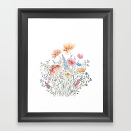 wild flower bouquet and blue bird- ink and watercolor 2 Framed Art Print