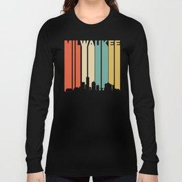 Retro 1970's Milwaukee Wisconsin Downtown Skyline Long Sleeve T-shirt