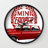 mini cooper Wall Clocks featuring Classic Mini Cooper by car2oonz