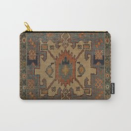 Persia Heriz 19th Century Authentic Colorful Orange Blue Green Vintage Patterns Carry-All Pouch