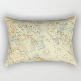 Vintage Map of Lake Winnipesaukee (1907) Rectangular Pillow