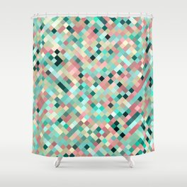 candace - mint green and petal pink mosaic  design Shower Curtain